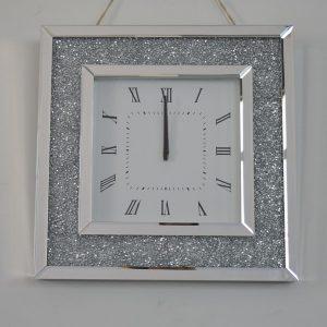 Crystallised Crushed Diamonds Mirror Wall Clock (Square)